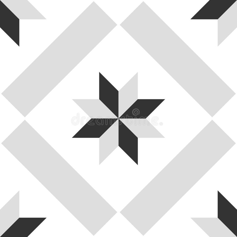 Teje el gris, el modelo decorativo blanco y negro del vector de las baldosas o el fondo inconsútil libre illustration