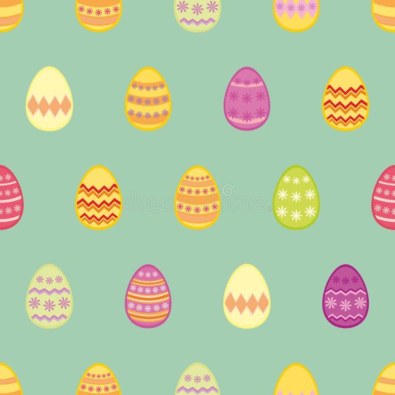 Teje el modelo del vector con los huevos de Pascua coloridos en fondo del azul de la menta stock de ilustración