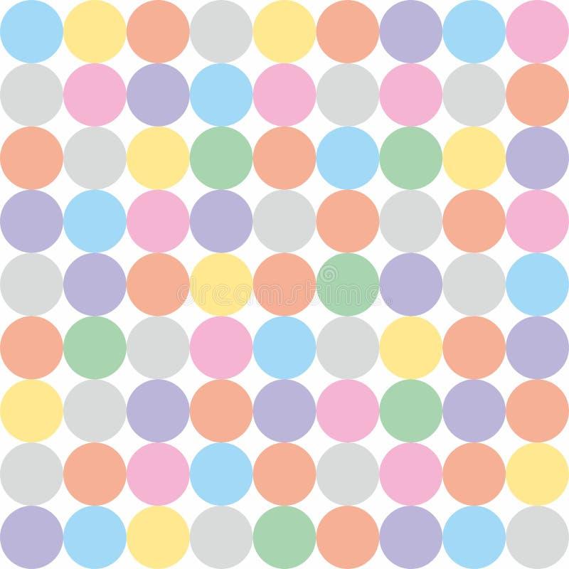 Teje el modelo del vector con los lunares coloridos en colores pastel en el fondo blanco stock de ilustración