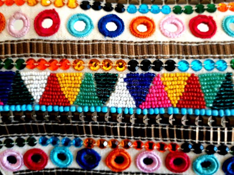 Tejido de colores artesanal/手工制造色的织品 免版税库存照片