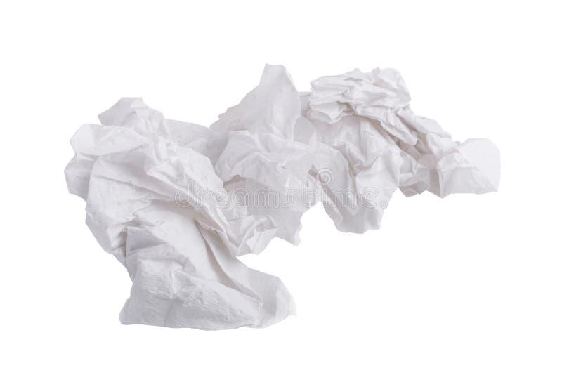 tejido de papel atornillado usado aislado en el fondo blanco imágenes de archivo libres de regalías