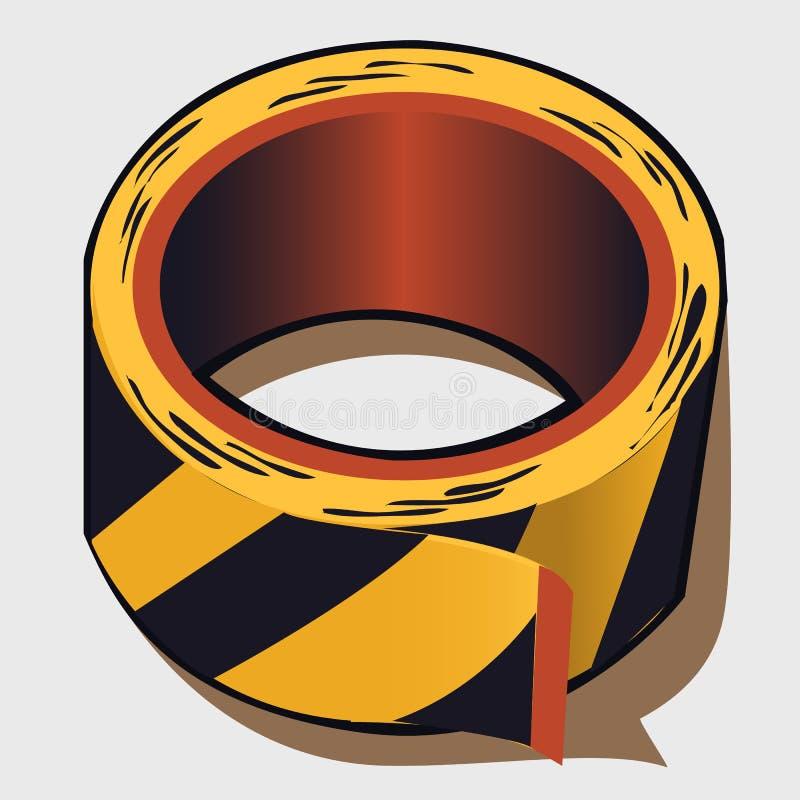Tejp i svart- och gulingband vektor illustrationer
