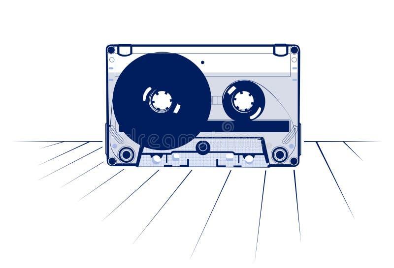 Tejpad ljudsignalkassetten stock illustrationer