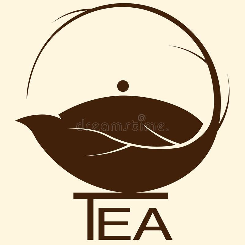 Tekanna från logo för tebladteminimalist vektor illustrationer