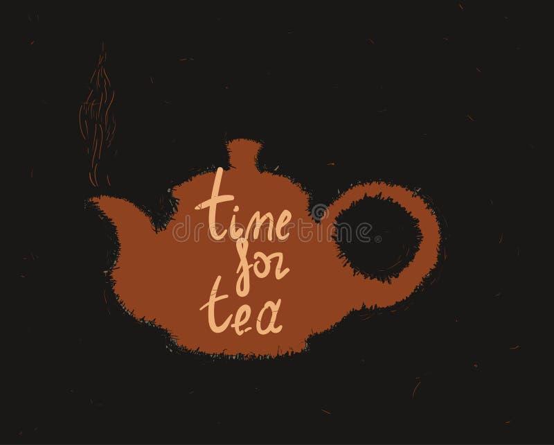 Tekanna med inskrift` Tid för te`, royaltyfria bilder