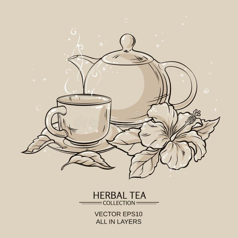Tekanna med kopp- och hibiskusblomman royaltyfri illustrationer