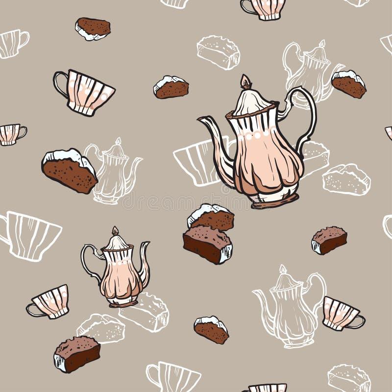 Tekannor, koppar och sömlös modellhand för kaka som dras i gammal stil Illustration f?r tetidvektor Matmodell vektor illustrationer