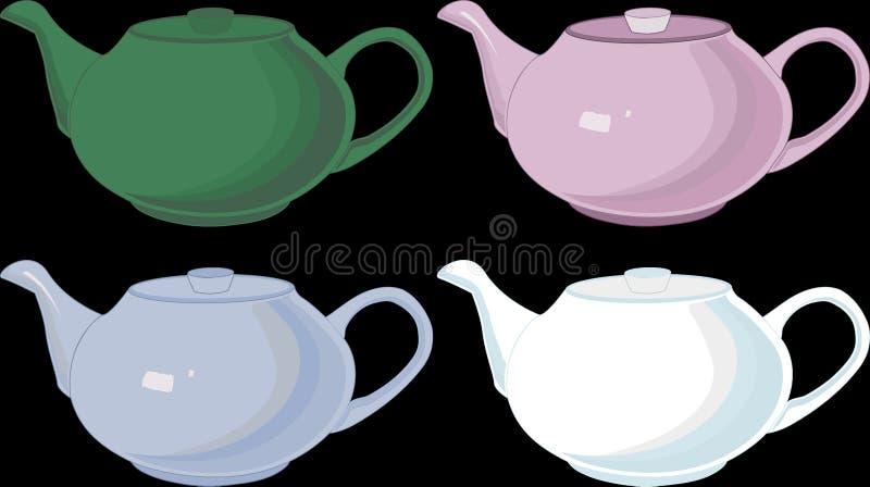 Tekannor som isoleras, porslin som är linjärt, vektor, olika färger royaltyfri illustrationer