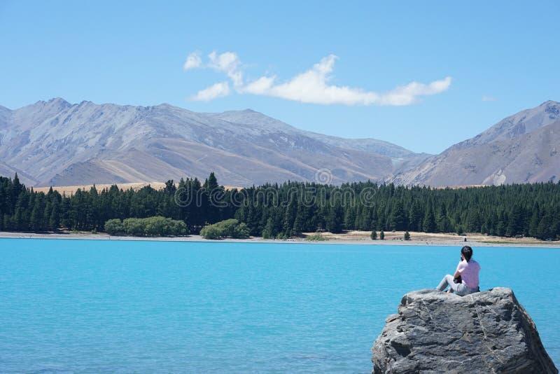 Tekapo del lago en verano fotografía de archivo