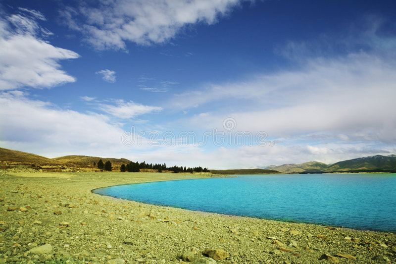tekapo niebieskiego jeziora obraz stock