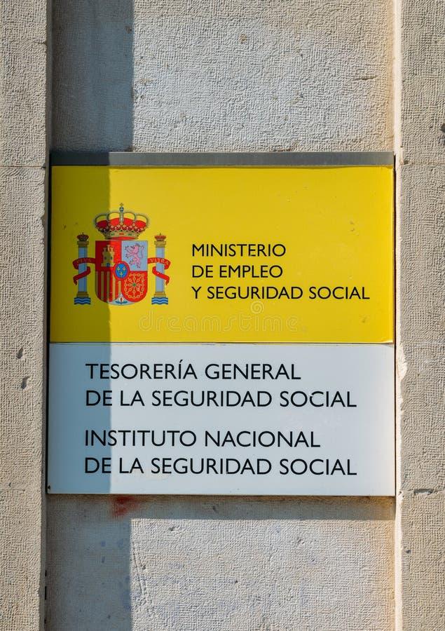 Teken aan een Spaans regeringskantoor van het Ministerie van Sociale zekerheid royalty-vrije stock afbeeldingen