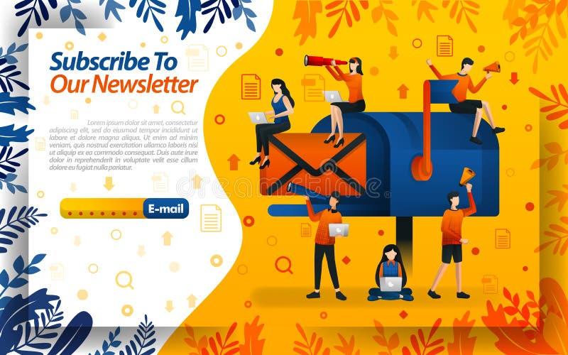 Teken aan ons bulletin in e-mail met grote brievenbusbeelden teken aan informatie en video's, concepten vectorilustration in Ca stock illustratie