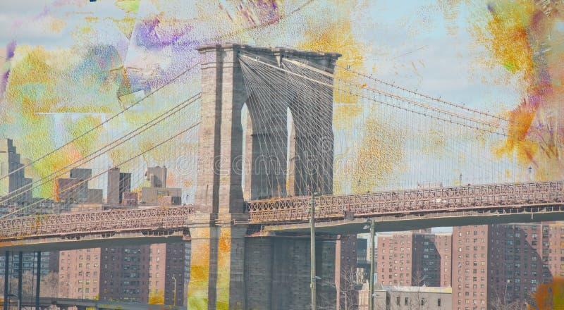 Teken, Bakstenen, dichtbij de Brug van Brooklyn royalty-vrije illustratie