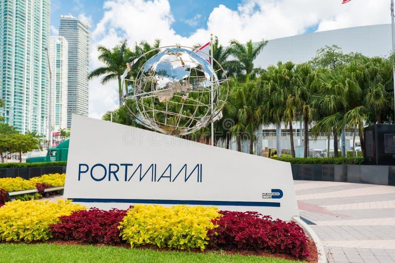 Teken bij de ingang van de Haven van Miami royalty-vrije stock afbeelding