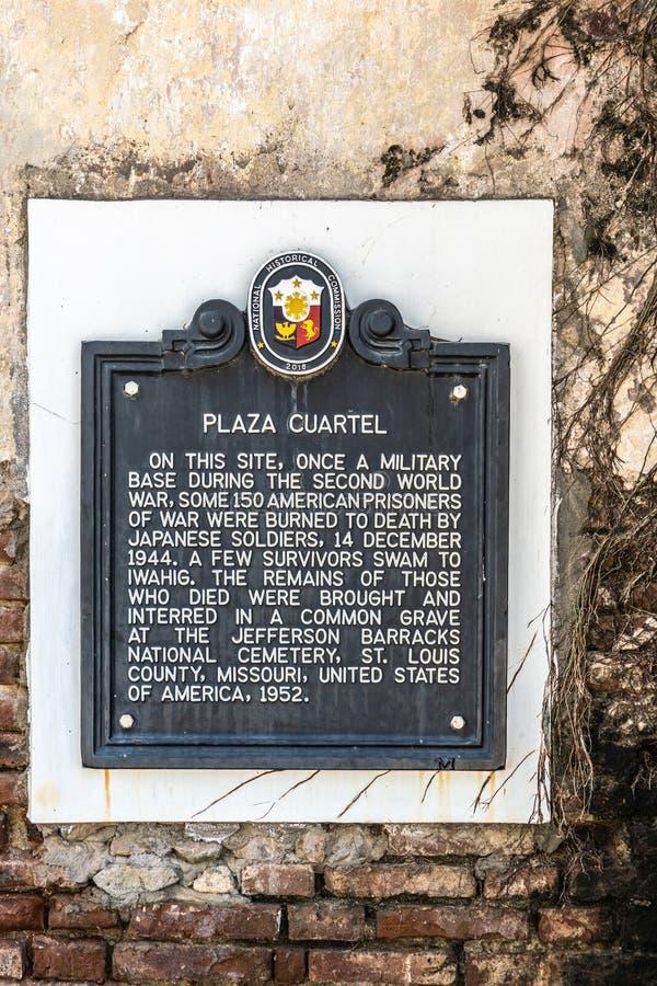 Teken bij Plein Quartel in Puerto Princesa, Palawan, Filippijnen stock foto