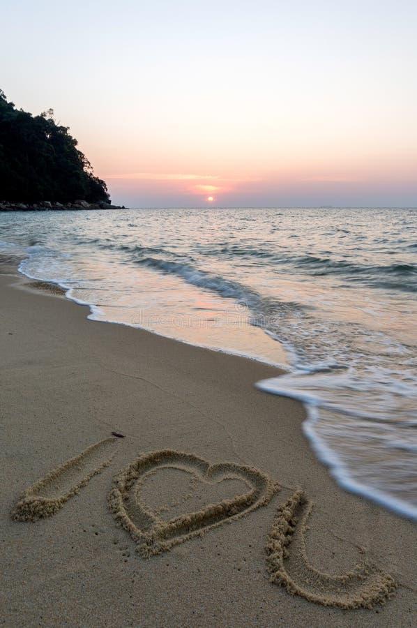 Teken bij strand stock afbeeldingen