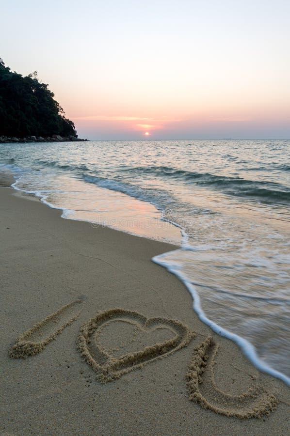 Teken bij strand stock fotografie