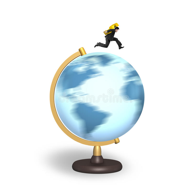 Teken die van de zakenman het dragende dollar op roterende bol lopen stock illustratie