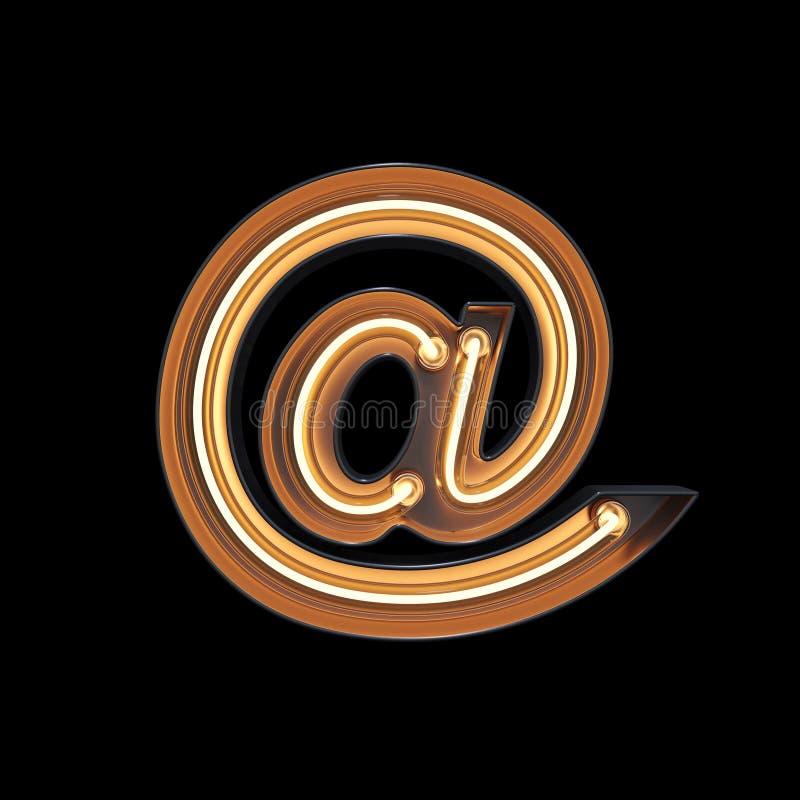 @-teken, E-maildiesymbool van neonlicht met het knippen van klopje wordt gemaakt royalty-vrije illustratie