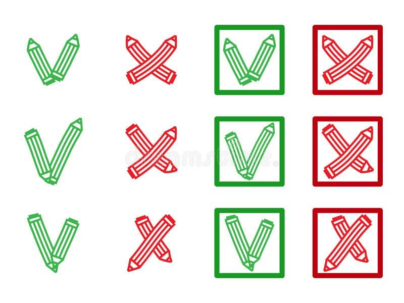 Teken X en V in vorm van potloden Groene haken, tik, rode kruisen Ja Geen Juiste Verkeerde pictogrammen voor websites, toepassing vector illustratie
