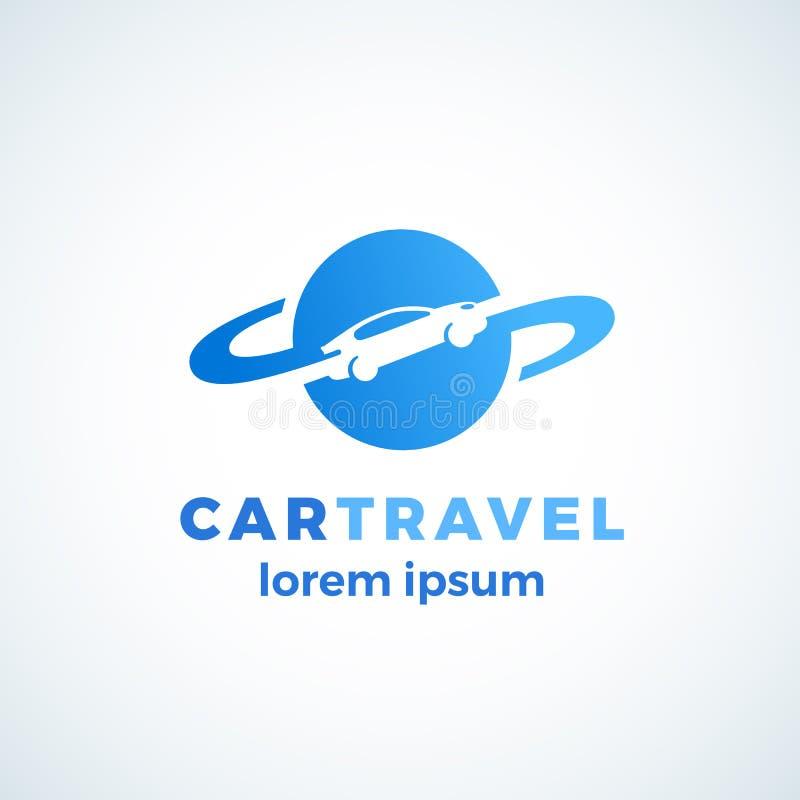 Teken, het Symbool of Logo Template van de autoreis het Abstracte Vector Autosilhouet het Drijven rond The Globe-Pictogram Geïsol royalty-vrije illustratie