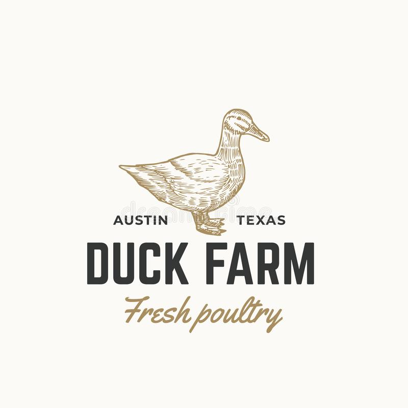 Teken, het Symbool of Logo Template van Duck Farm Fresh Poultry Abstract het Vector Hand Getrokken Graverend Duck Sillhouette Ske vector illustratie