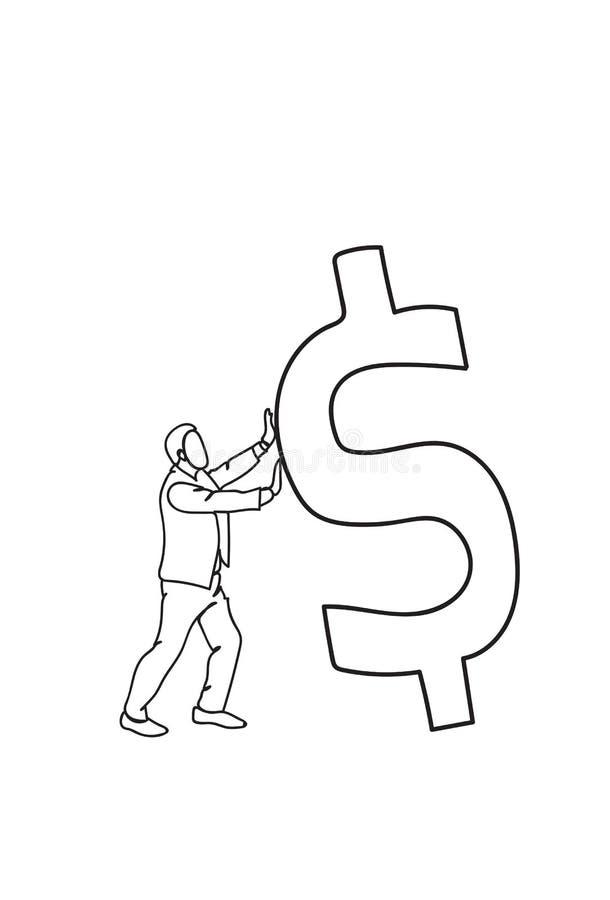 Teken krabbel van de Bedrijfsmensen financiert het Duwende Dollar omhoog de Groeiconcept stock illustratie