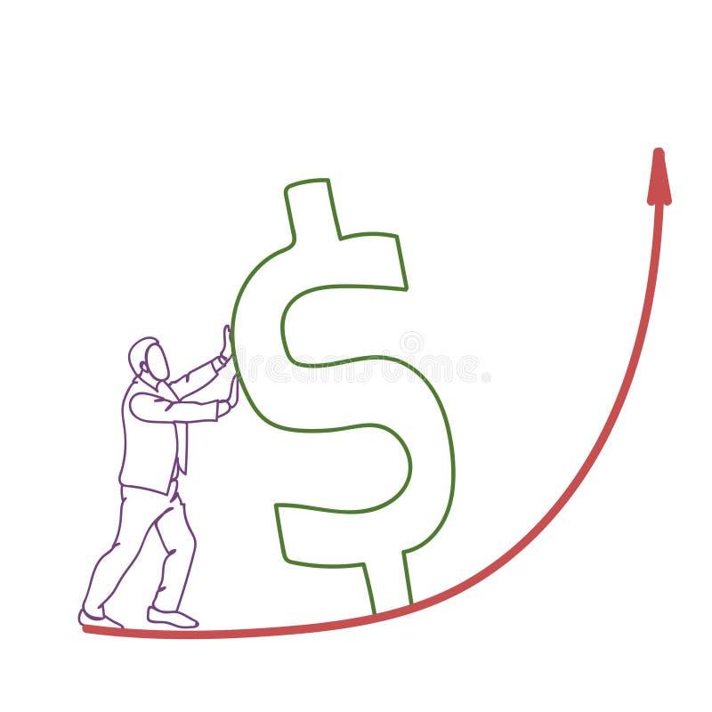 Teken krabbel van de Bedrijfsmensen financiert het Duwende Dollar op Rode Pijl omhoog de Groeiconcept vector illustratie