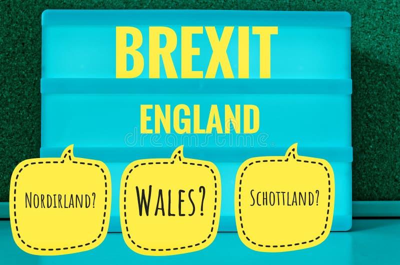Teken met lichte inschrijving in Duits Brexit, Engeland, Noord-Ierland, Wales en Schotland in Engels Noord-Ierland, Schotland, vector illustratie