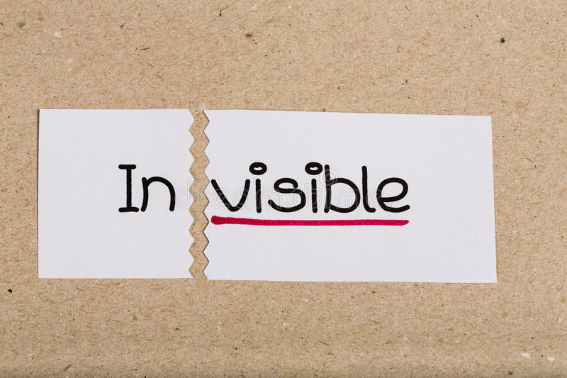 Teken met onzichtbaar woord geworden zichtbaar royalty-vrije stock afbeelding