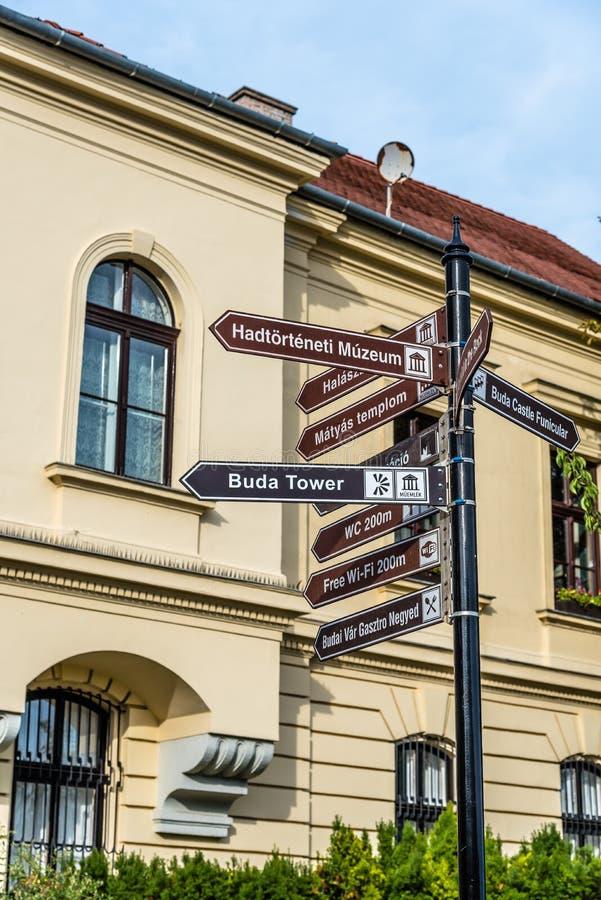 Teken met richtingen aan Boedapest ` s landmarksr royalty-vrije stock fotografie