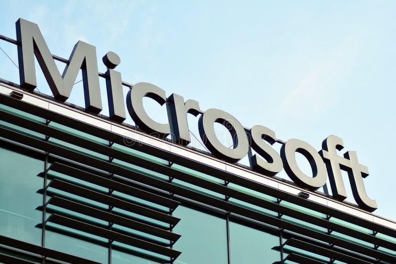 Teken Microsoft Bedrijfuithangbord Microsoft royalty-vrije stock foto's