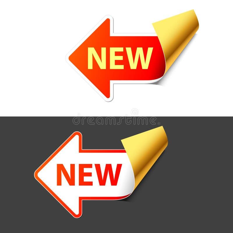 Teken Nieuw in de vorm van een pijl. Vector. vector illustratie