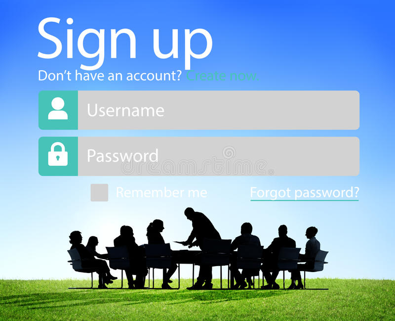 Teken op het Webconcept van Register Online Internet royalty-vrije stock fotografie
