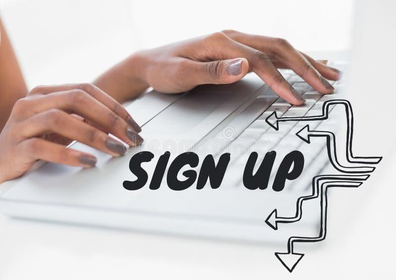 Teken op tekst tegen handen op laptop royalty-vrije illustratie