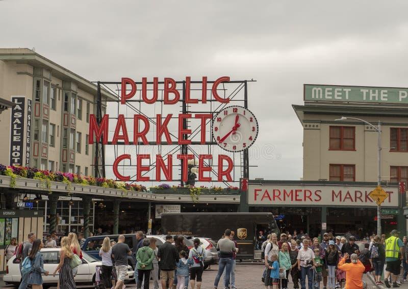Teken over de Markt van de Snoekenplaats, Seattle, Washington stock afbeeldingen