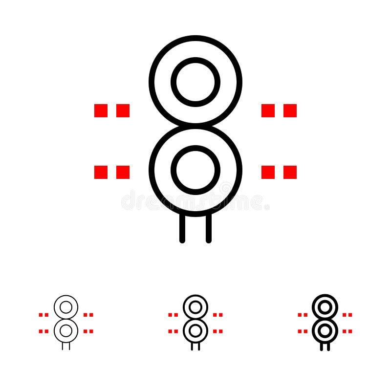 Teken, Post, Verkeer, Trein, het pictogramreeks van de Vervoers Gewaagde en dunne zwarte lijn vector illustratie