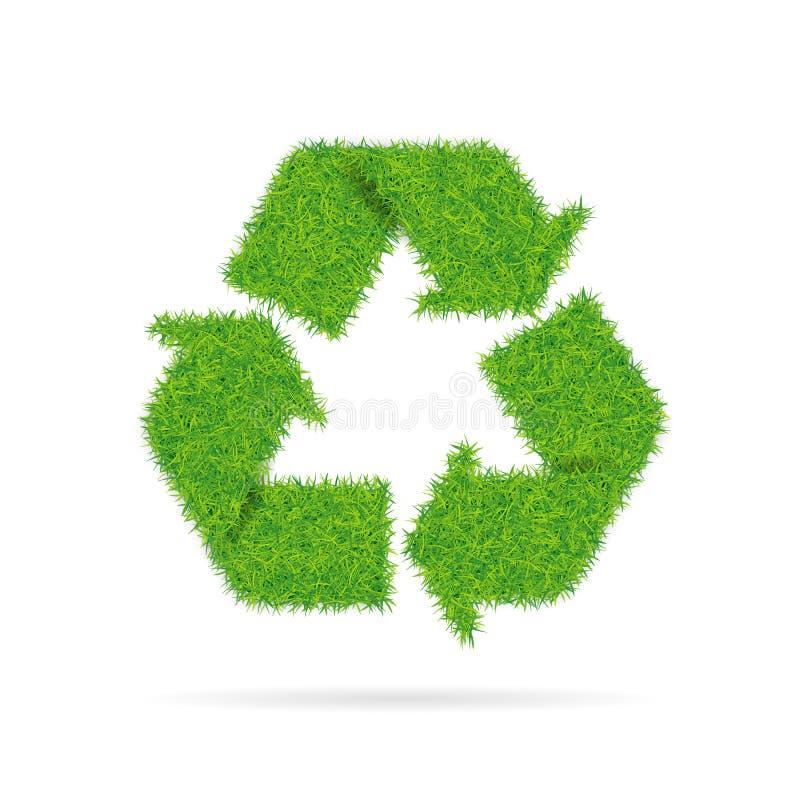 Teken recycling met grastextuur royalty-vrije illustratie