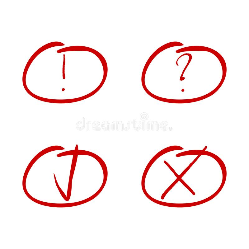 Teken rode teller Tik en dwars, uitroep en vraagsymbool stock illustratie