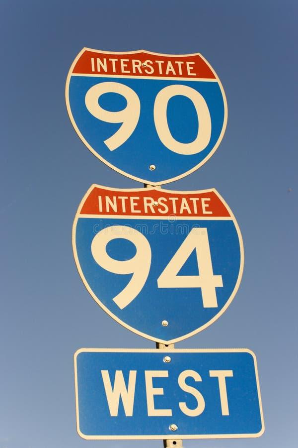 Teken van 90 en 94 Tusen staten stock afbeelding