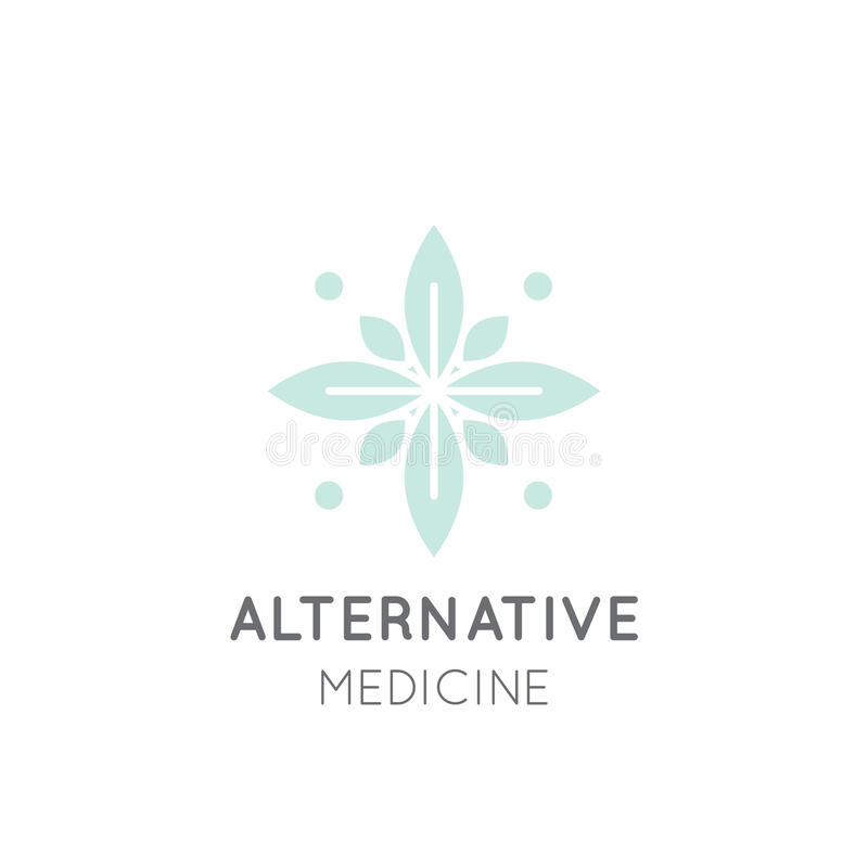 Teken van Alternatieve Geneeskunde IV Vitaminetherapie, anti-Veroudert, Wellness, Ayurveda, Chinese Geneeskunde Holistic centrum royalty-vrije illustratie