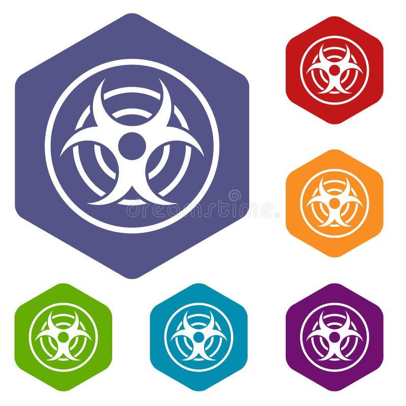 Teken van biologische bedreigingspictogrammen geplaatst hexagon vector illustratie