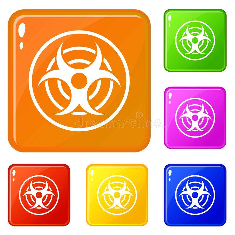 Teken van biologische bedreigingspictogrammen geplaatst vectorkleur royalty-vrije illustratie