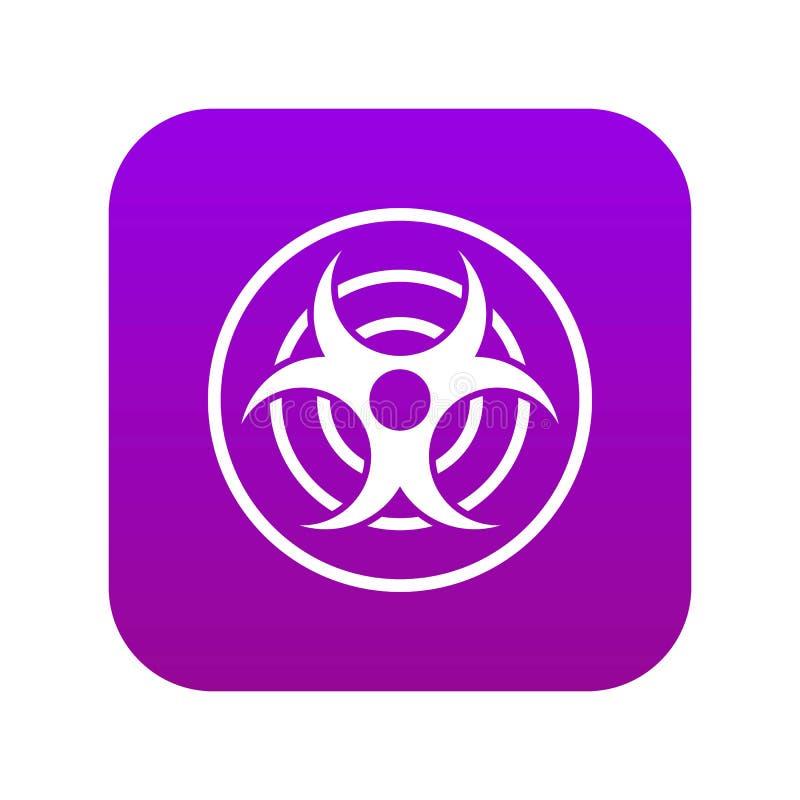 Teken van biologische digitale purple van het bedreigingspictogram stock illustratie