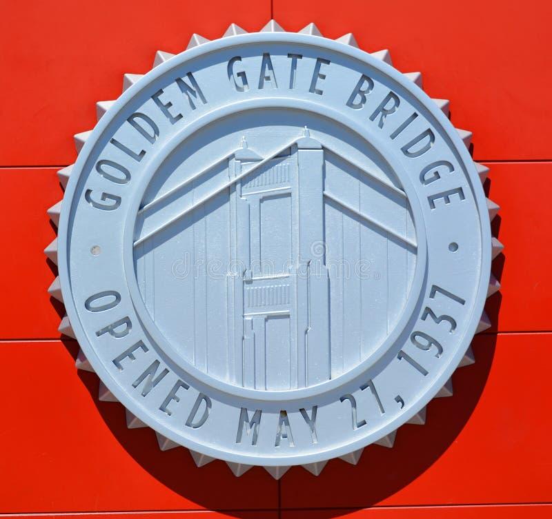 Teken van bouw van Golden gate bridge royalty-vrije stock afbeeldingen