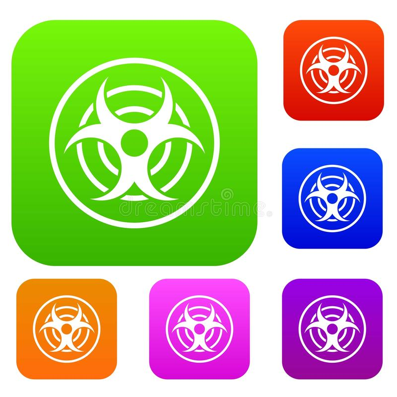 Teken van de biologische inzameling van de bedreigings vastgestelde kleur stock illustratie