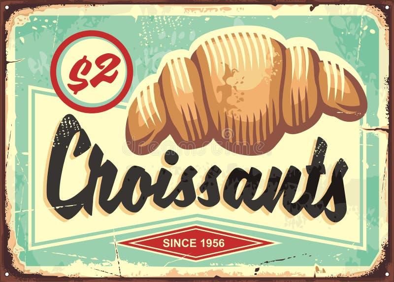 Teken van de croissants retro bakkerij vector illustratie