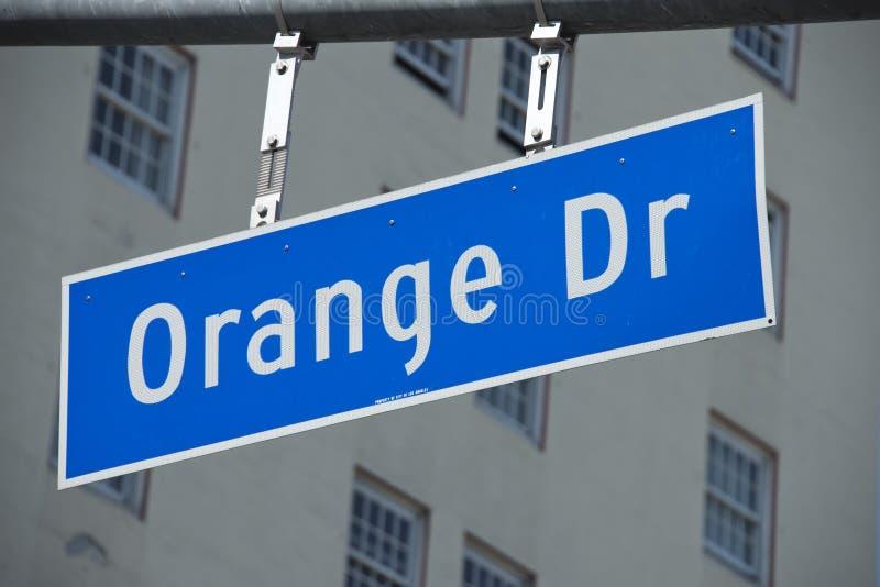 Teken van de de Aandrijvingsstraat van La Hollywood het Oranje stock fotografie