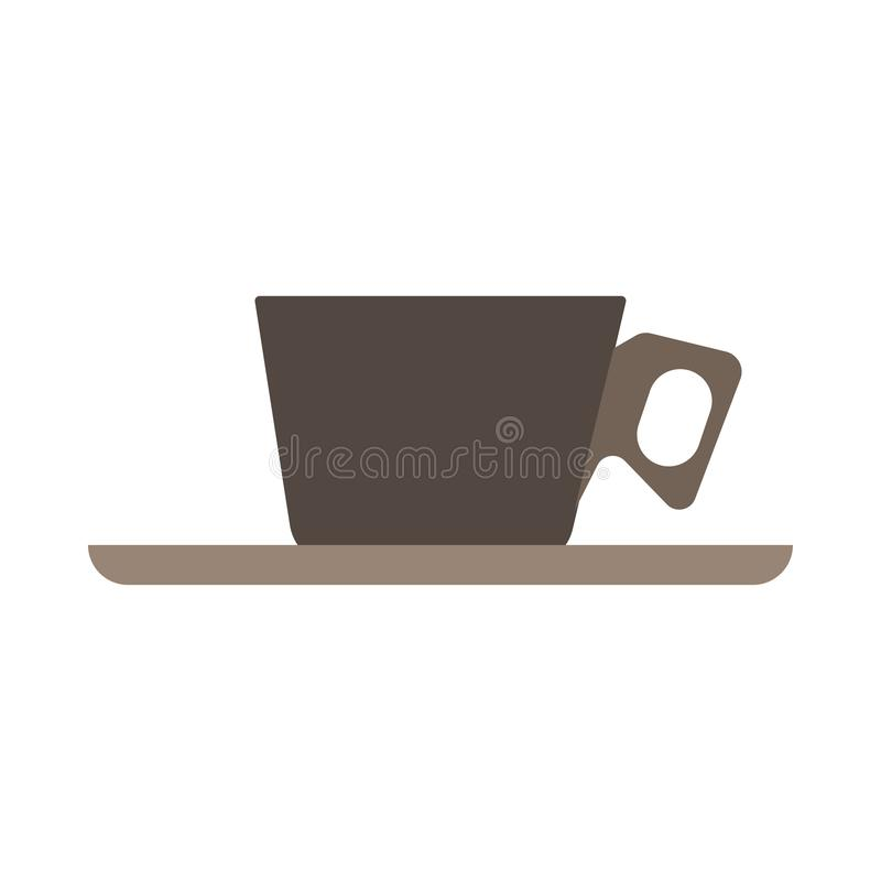 Teken van de het zijaanzicht het vector vlakke close-up van de kopkoffie Mok van het het aroma de hete restaurant van de chocolad stock illustratie
