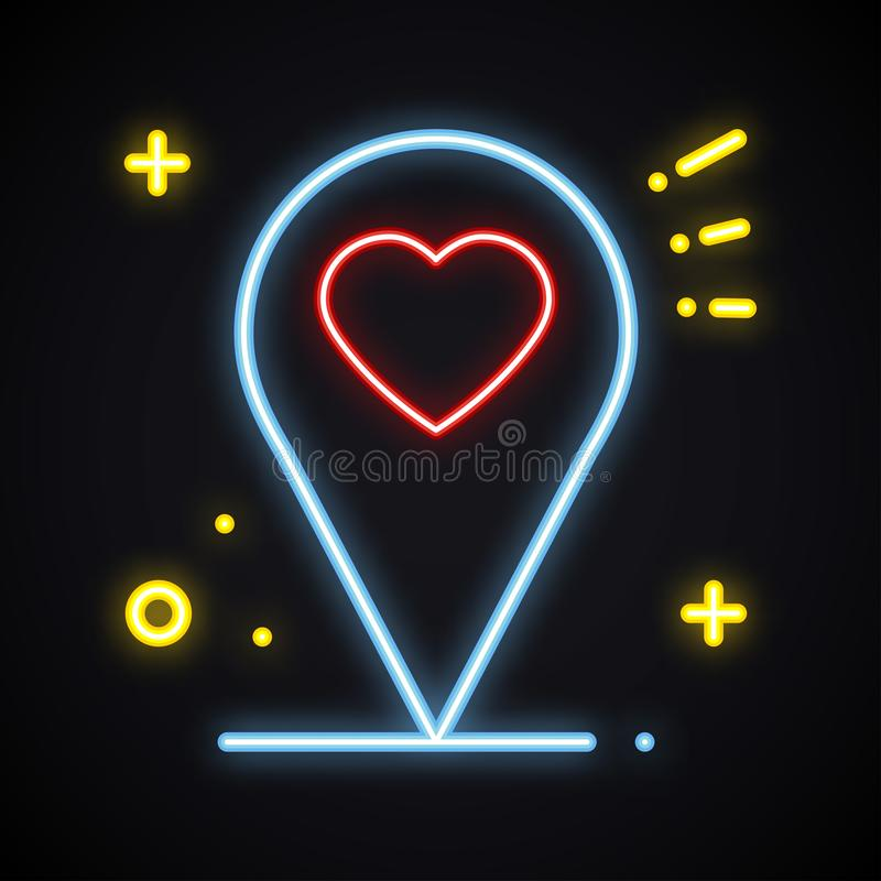 Teken van de neon het heldere plaats op donkere achtergrond De wijzersymbool van de kaartspeld nearsighted Het gloeien hartvorm stock illustratie
